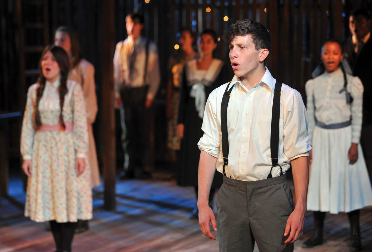 """Joe Hill, left, and the cast share a scene in a run-through for """"Spring Awakening"""" on Wednesday at the Perry-Mansfield Performing Arts School and Camp. The school will present the Tony Award-winning musical at 8 p.m. Thursday, Friday and Saturday. Tickets are available for $25."""