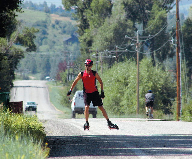 Antonio Marxuach roller skis Wednesday morning along Routt County Road.