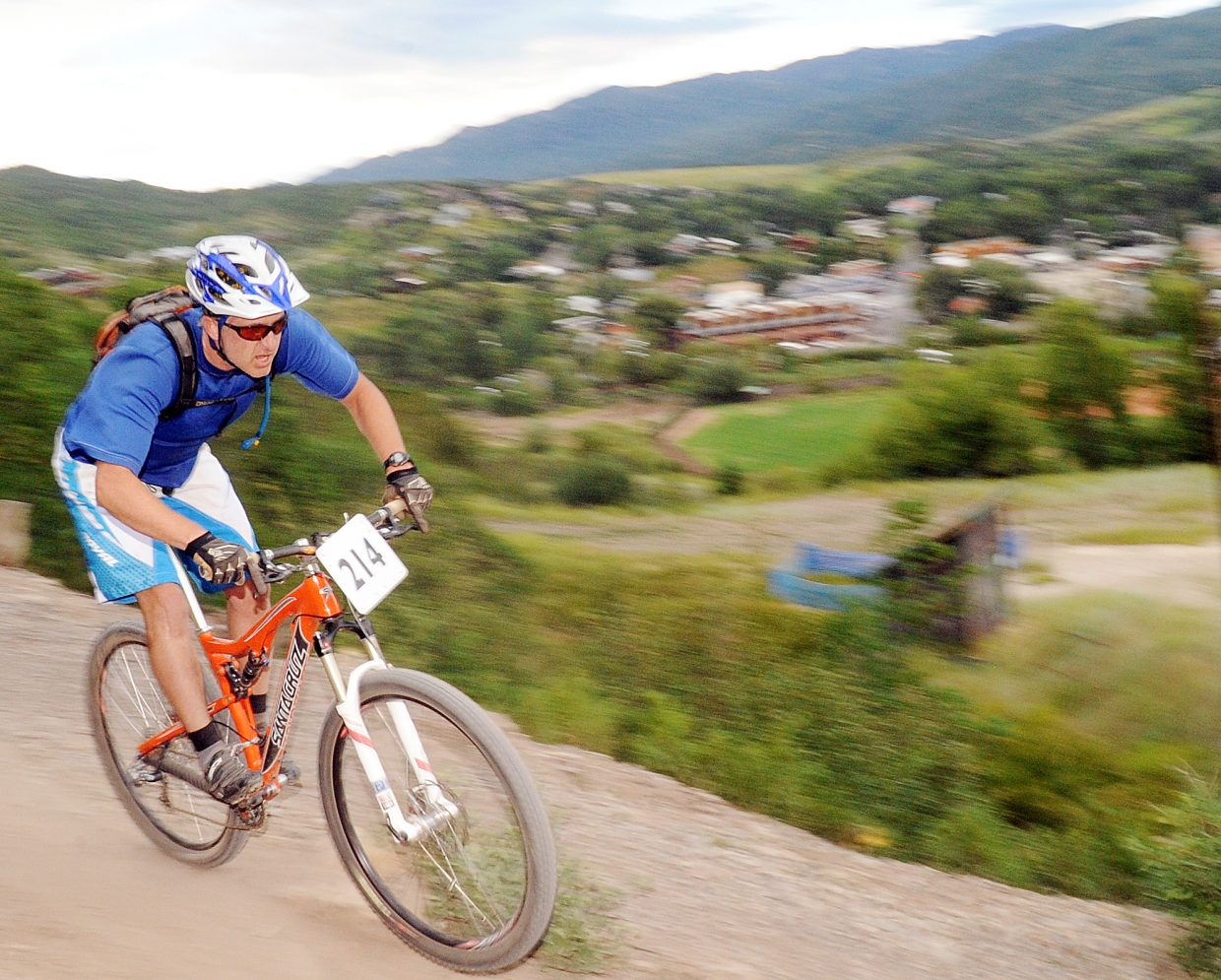 Bob Kastor roars down the final stretch of Wednesday's Town Challenge mountain bike race on Emerald Mountain in Steamboat Springs. He was fast, but not quite fast enough, finishing one second behind Andy Weynand in the men's sport 40 to 49 division.