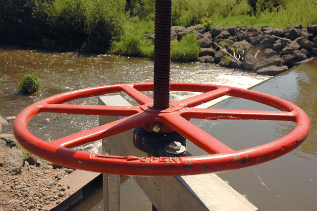Rancher Dean Rossi installed a modern headgate system to replace an older one on the Yampa River south of the town of Yampa. The new headgate better monitors the flow of water to area ranches.
