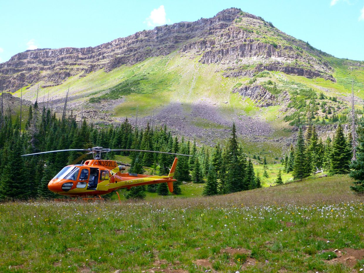 A Flight for Life helicopter lands in the Flat Tops Wilderness Area on Tuesday to transport a 50-year-old Texas man who fell an estimated 80 feet from the trail that leads to the popular Devil's Causeway crossing.