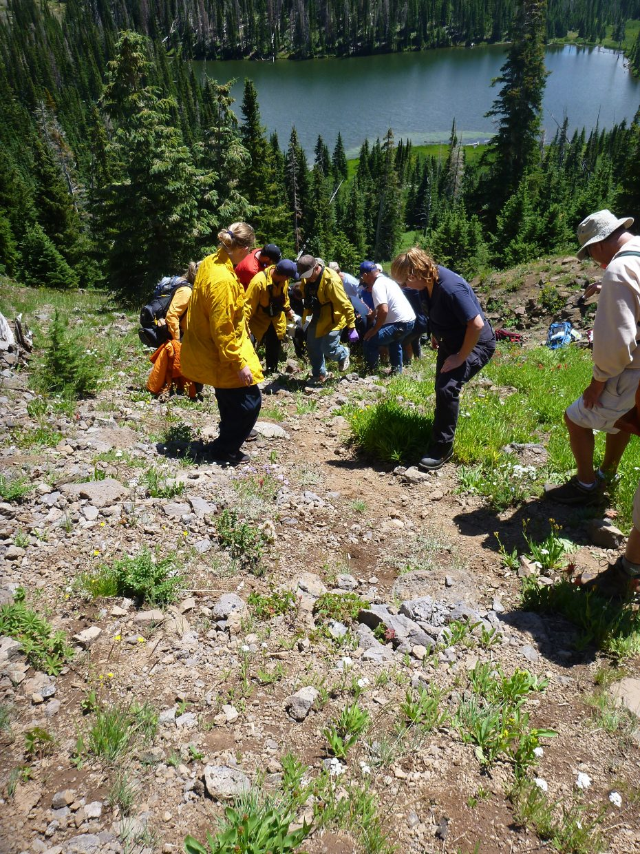 Routt County Search and Rescue crew members, emergency services officials and bystanders help move a 50-year-old Texas man who fell an estimated 80 feet in the Flat Tops Wilderness Area on Tuesday.