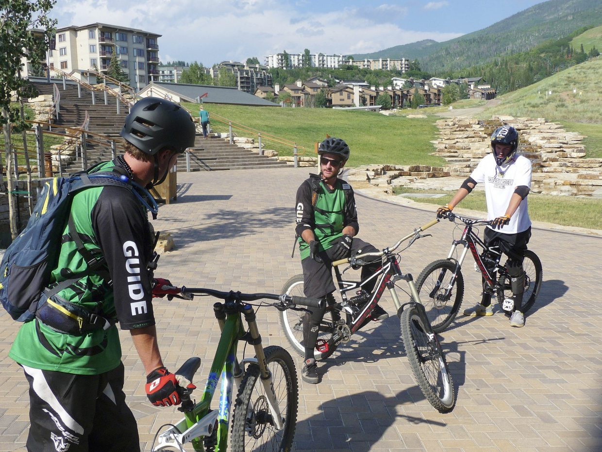 Instructor Dave Reilly goes through drills before taking riders on the trails at Steamboat Ski Area.