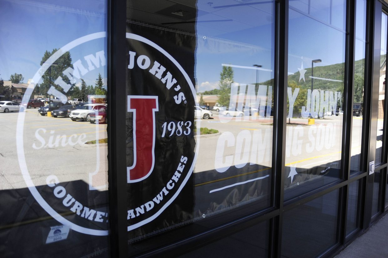 After getting the proper building permits, franchise owner Brendan Killian says it will take three to four weeks to complete the tenant finish on the new Jimmy John's sandwich shop coming to Central Park Plaza in Steamboat Springs.