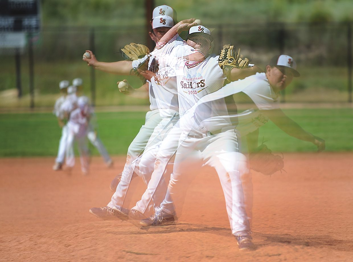 This multiple-exposure photo shows pitcher Keegan Cancelosi, who plays for the U13 Steamboat Sailors baseball team, hurling a pitch toward the plate during Thursday's game against the Crushers, from Danville, Calif. The Sailors lost that game, 14-6, as well as their second game of the day, 12-2, to Jaha Baseball. The Steamboat team will play Friday in Craig. The Triple Crown World Series continues through Sunday.