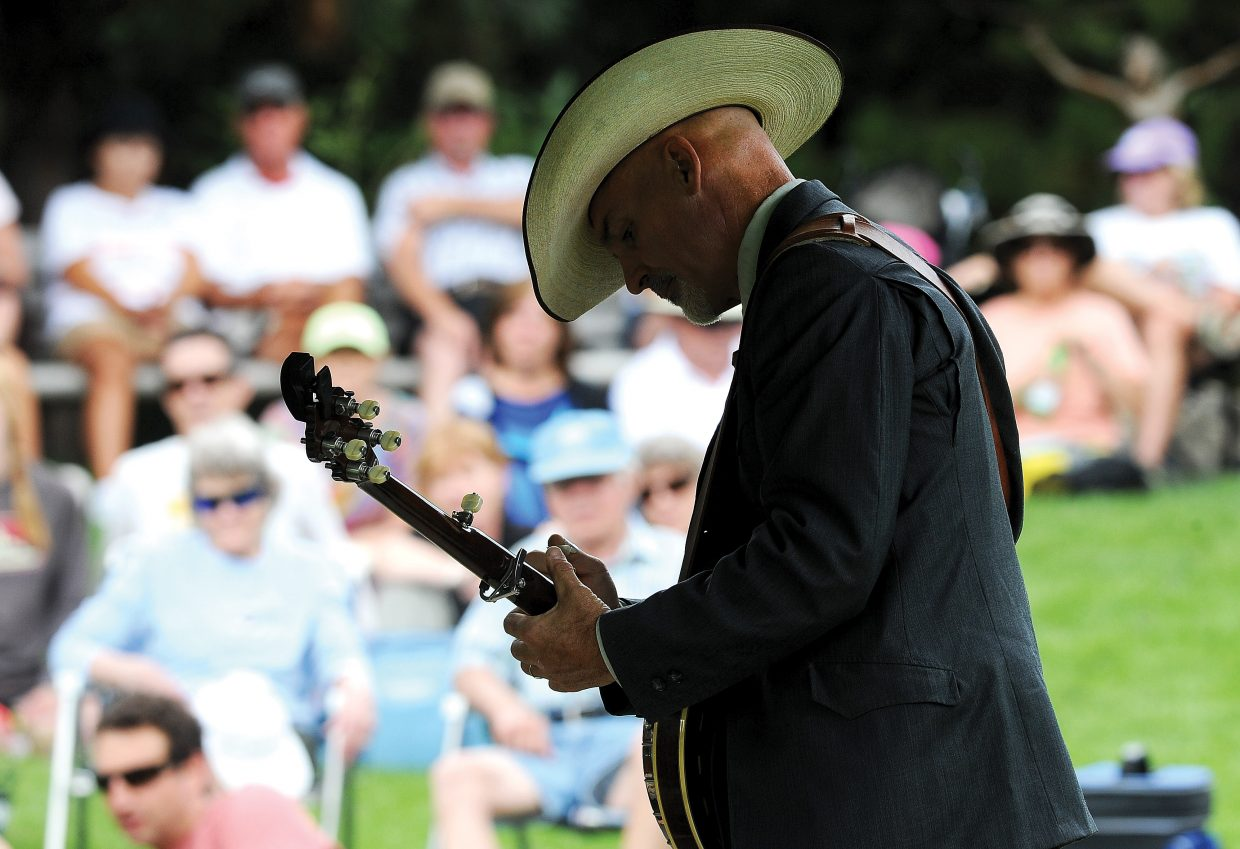Banjo player Von Wilson and the Old Town Pickers entertain a large crowd at Yampa River Botanic Park on Thursday afternoon as part of the Music on the Green concert series. The concert series continues Aug. 8 with Paul Potyen and Aug. 15 with Missed the Boat.