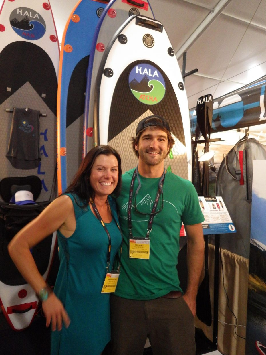 Amanda Brotman, left, and Peter Hall represent Hala at the Outdoor Retailer Summer Market trade show from July 31 to Aug. 3 in Salt Lake City.