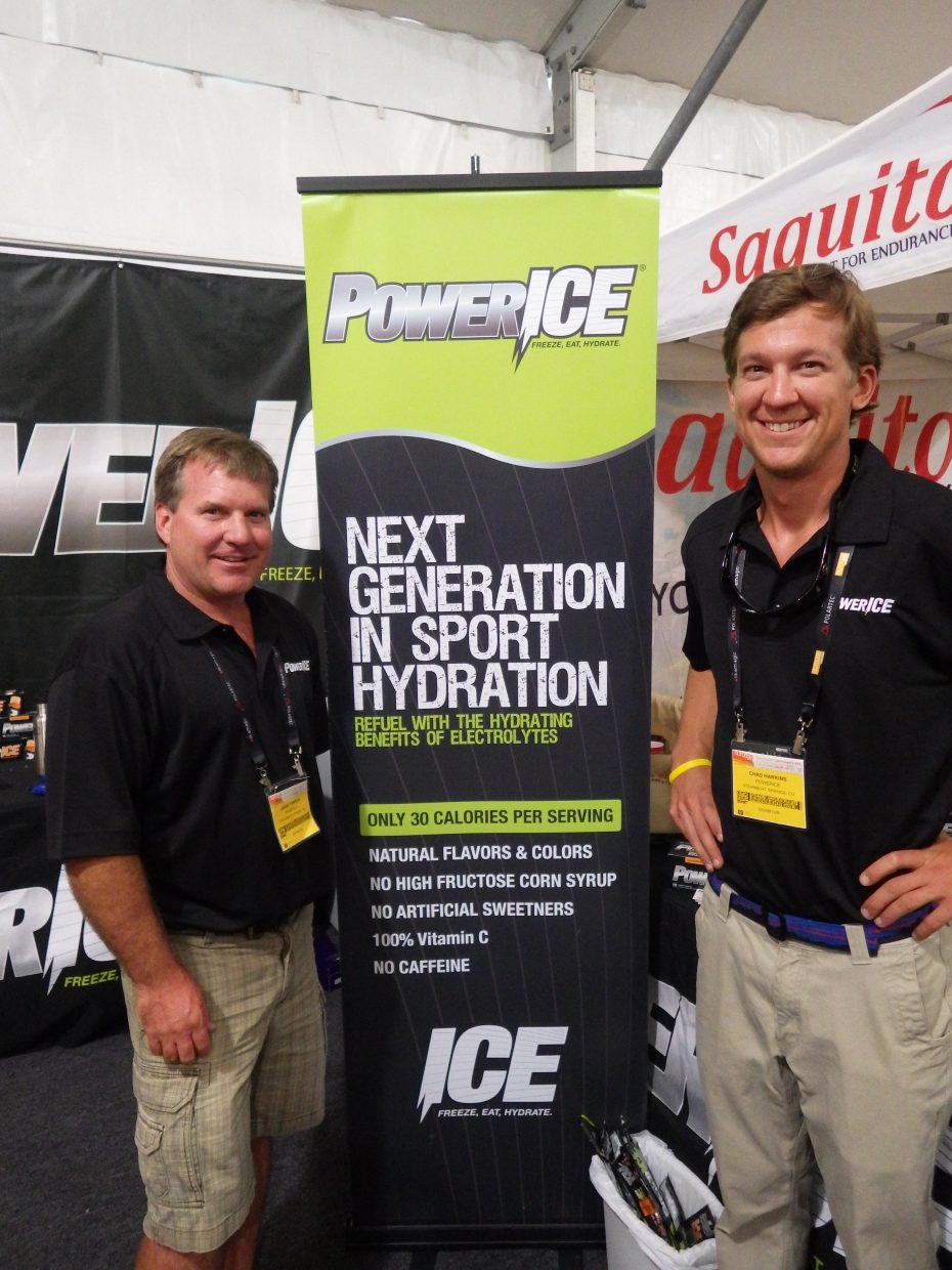 Grant Fenton, left, and Chad Harkins represent PowerICE at the Outdoor Retailer Summer Market trade show from July 31 to Aug. 3 in Salt Lake City.