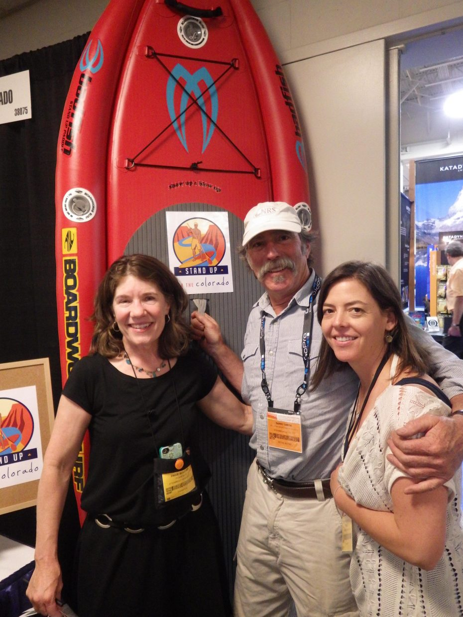 Paige Boucher and Erin Brosterhous, of Steamboat's Inside Out PR, and Barry Smith, of Mountain Sports Kayak School, attend the Outdoor Retailer Summer Market trade show from July 31 to Aug. 3 in Salt Lake City.