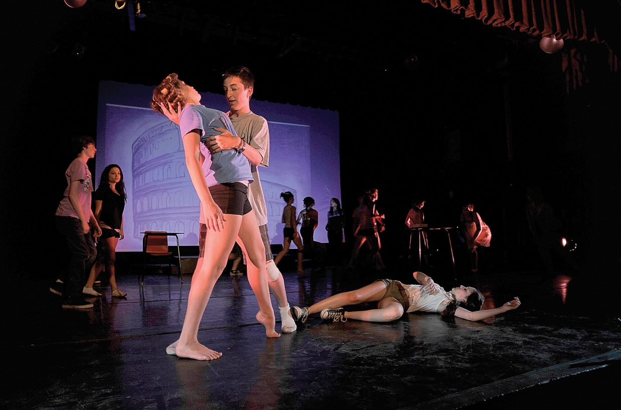 """Actors Zoë Grolnick, left, and Charlie Tisch rehearse a scene for the Perry-Mansfield Performing Arts School and Camp Youth Festival production of """"Hércule's Labours of Love."""""""