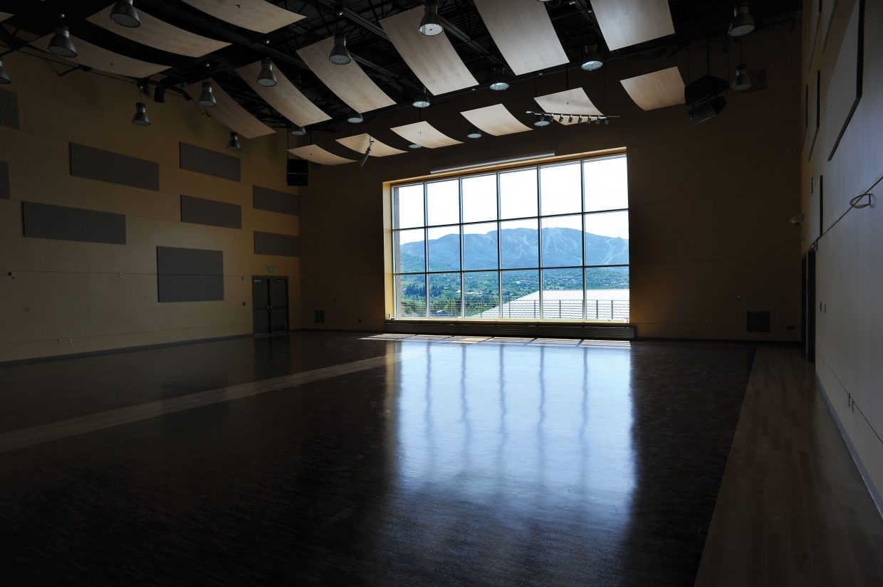 The windows of the new auditorium of the Steamboat Academic Center provide plenty of light as well as some great views. Classes are expected to begin in the new building when the fall session begins Aug. 27.