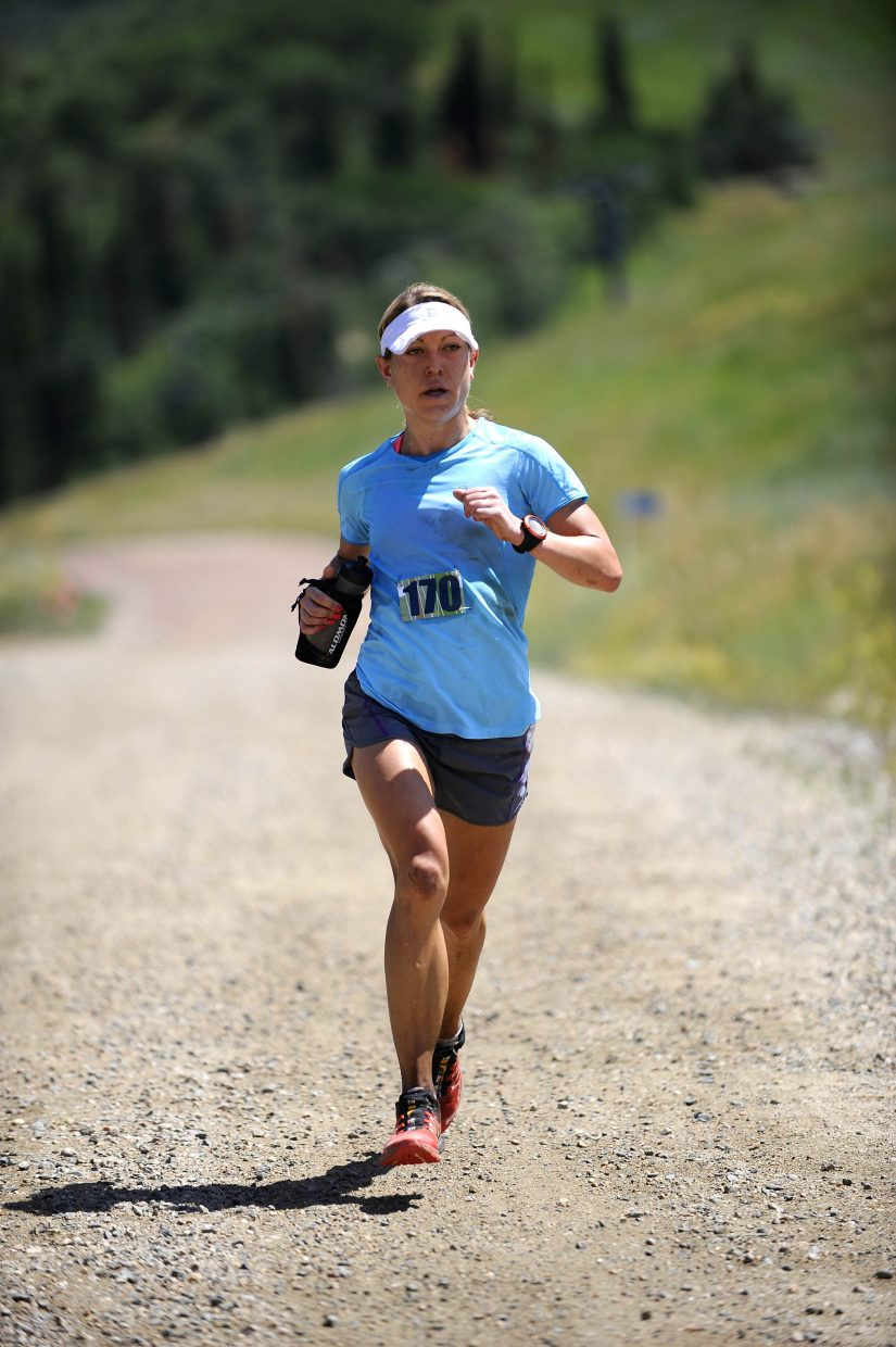 Boulder resident Cassie Scallon approaches the finish line of the Steamboat Springs Running Series Mount Werner Classic 50-kilometer trail race at Steamboat Ski Area.