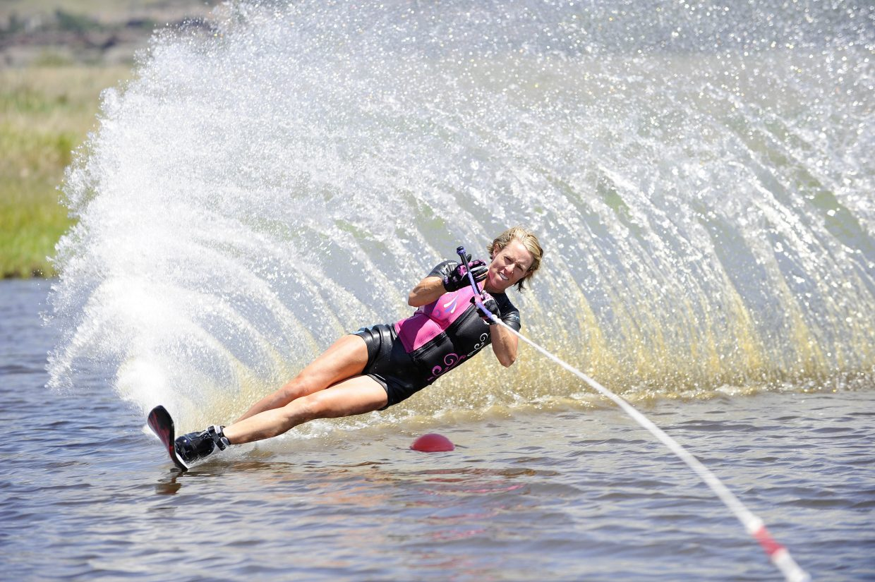 Rebecka Kuhl competes in a water ski competition hosted by the Bald Eagle Lake Water Ski Club on Saturday at Bald Eagle Lake just south of Steamboat Springs. There were 35 people who competed in the event, which involved rounding slalomed buoys. Those who do it the fastest, longest and with the shortest rope were awarded the highest score.