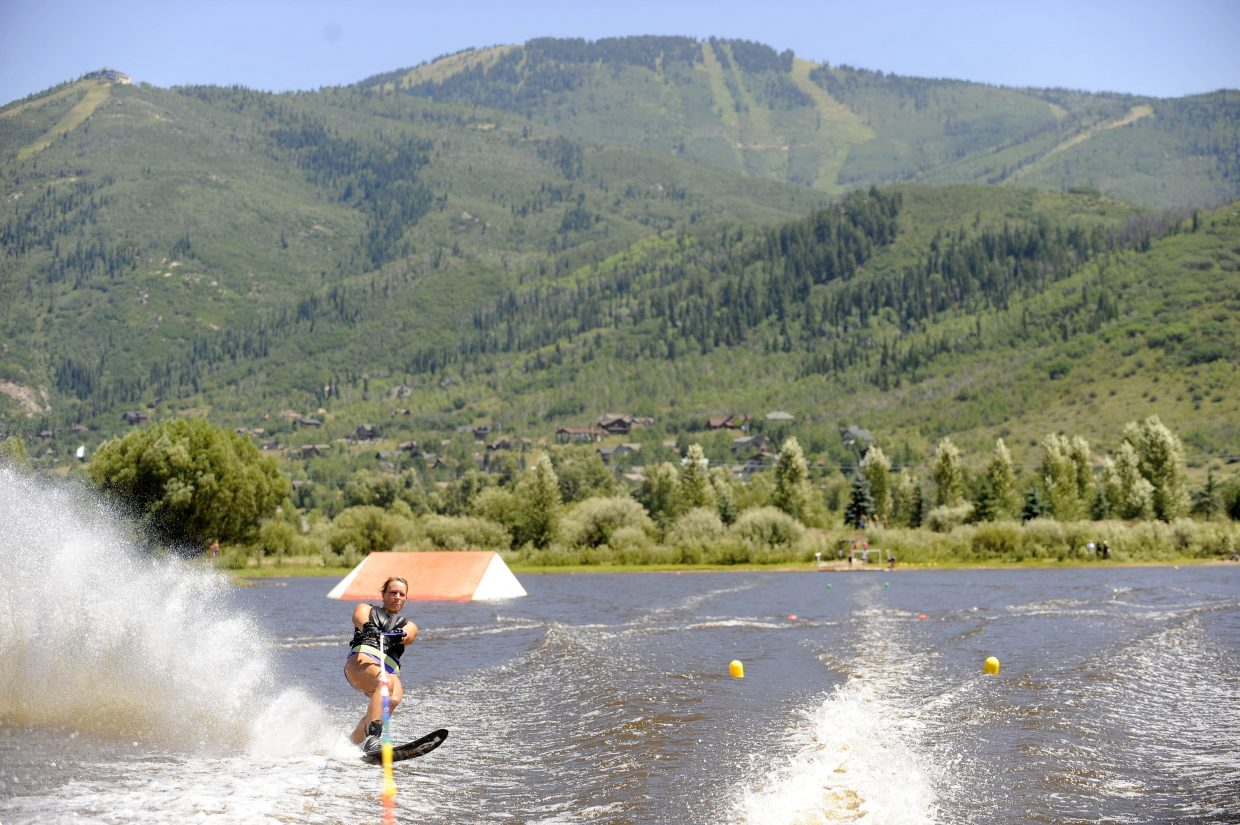 Amelia Tietsort competes in a water ski competition hosted by the Bald Eagle Lake Water Ski Club on Saturday at Bald Eagle Lake just south of Steamboat.