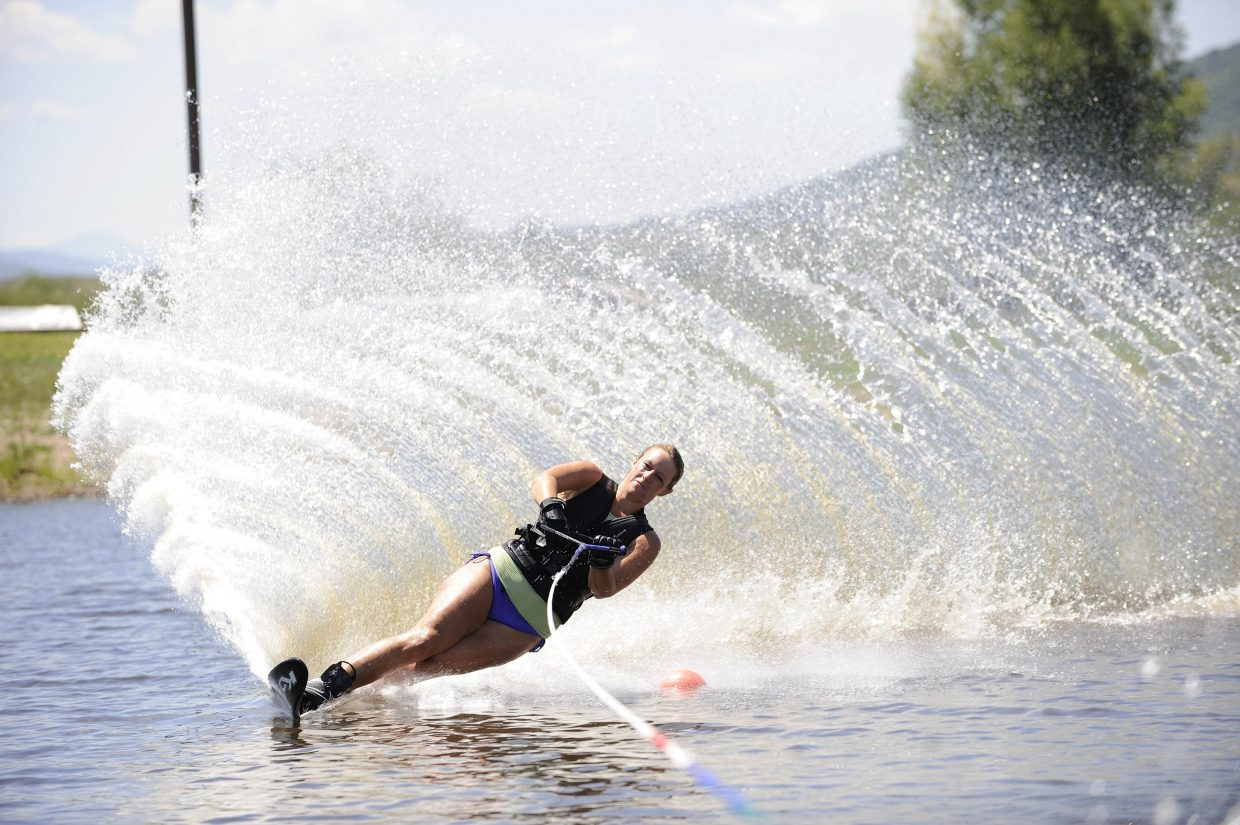 Amelia Tietsort competes in a water ski competition hosted by the Bald Eagle Lake Water Ski Club on Saturday at Bald Eagle Lake just south of Steamboat Springs.