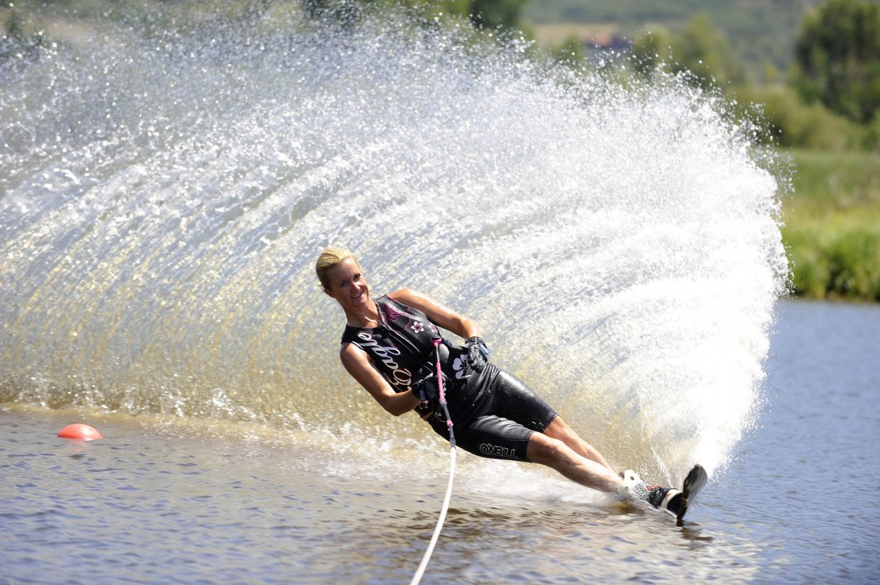 Brooke Packard competes in a water ski competition hosted by the Bald Eagle Lake Water Ski Club on Saturday at Bald Eagle Lake just south of Steamboat Springs.