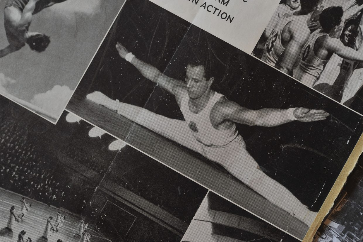 Sven Wiik was featured on the cover of this brochure for the Swedish gymnastics team in 1948. Wiik was part of a demonstration team that was showcased at the 1948 London Olympics.