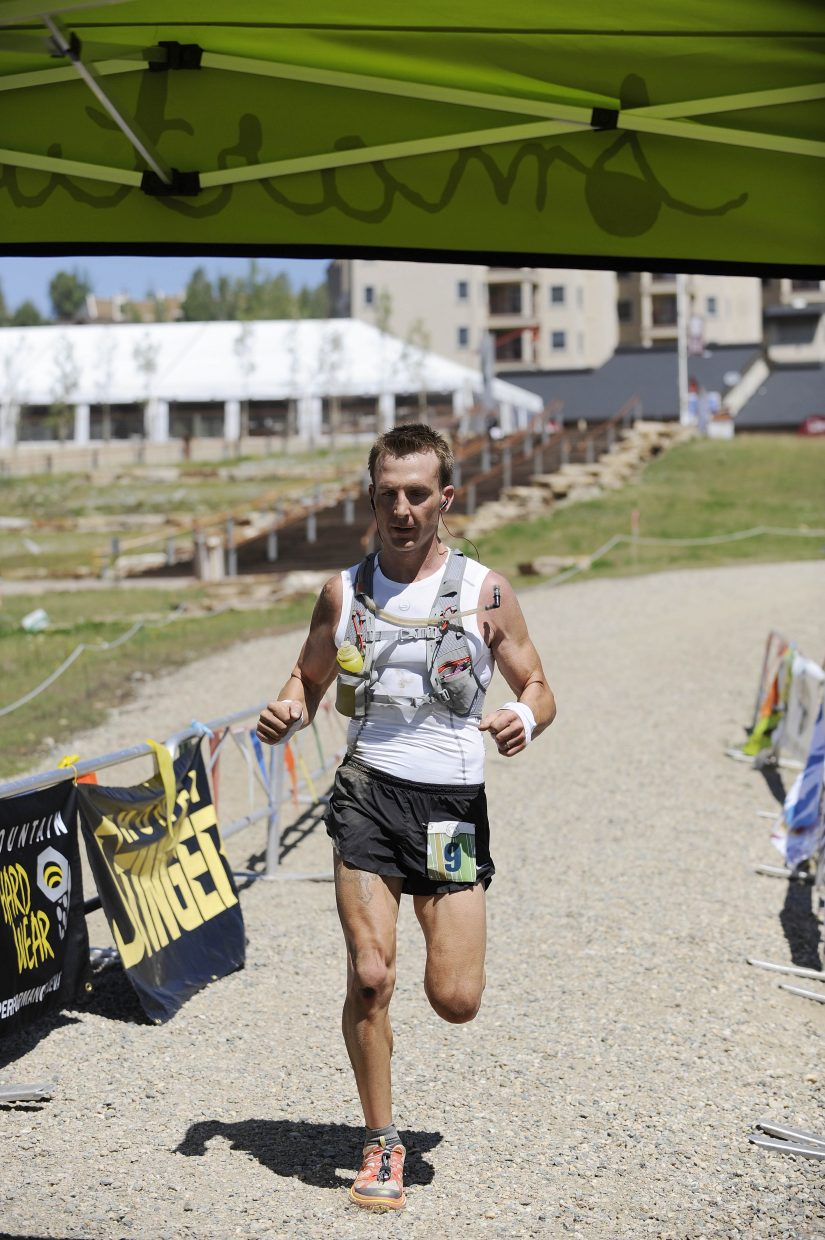 Jake Lawrence of Albuquerque, N.M., crosses the finish line during the Mount Werner Classic on Saturday at Steamboat Ski Area. Lawrence finished second in 4 hours, 55 minutes.