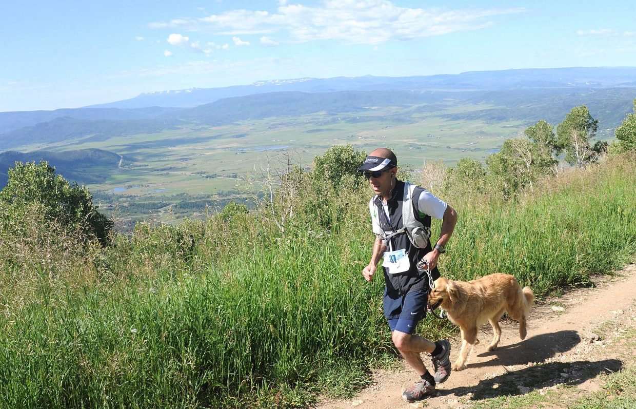 Greg Sarin runs toward the finish line in Saturday's Mount Werner Classic in Steamboat Springs. A record 125 runners participated in the Steamboat Springs Running Series race on Saturday.