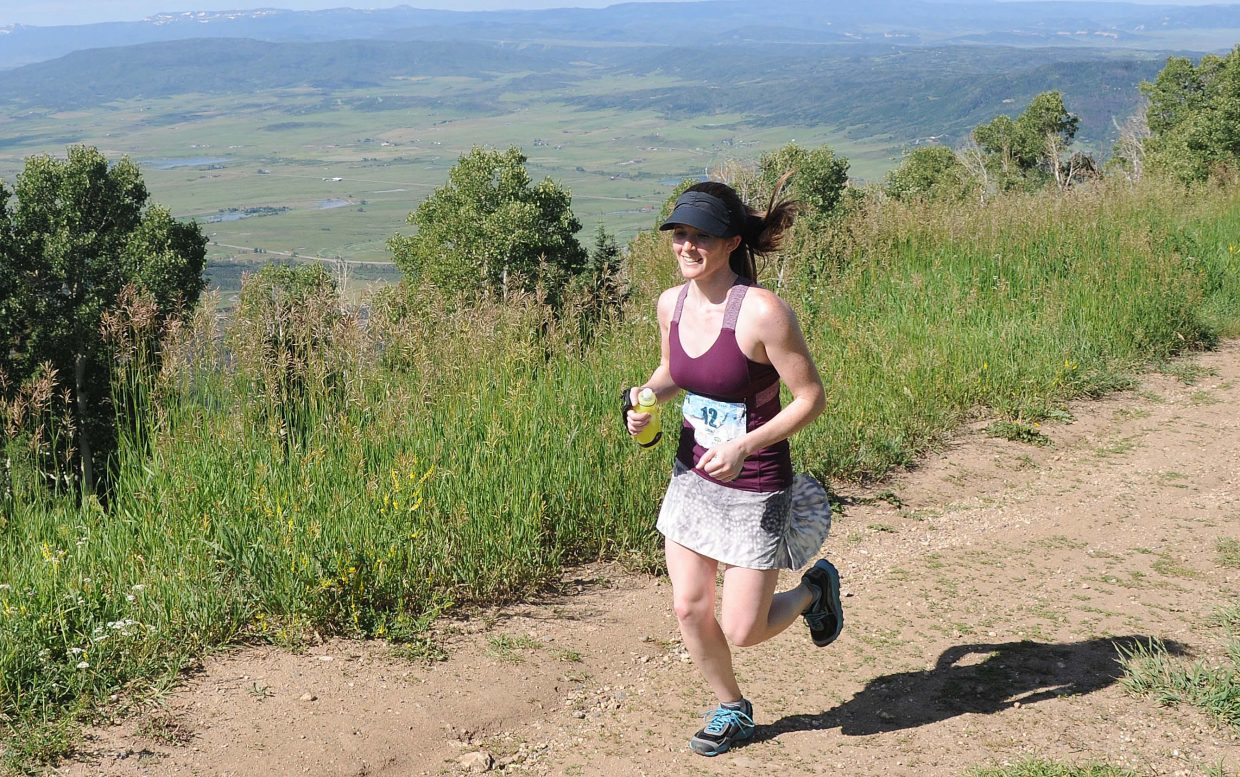 Liana Austin, of Rockville, Md., runs Saturday in the Mount Werner Classic in Steamboat Springs.