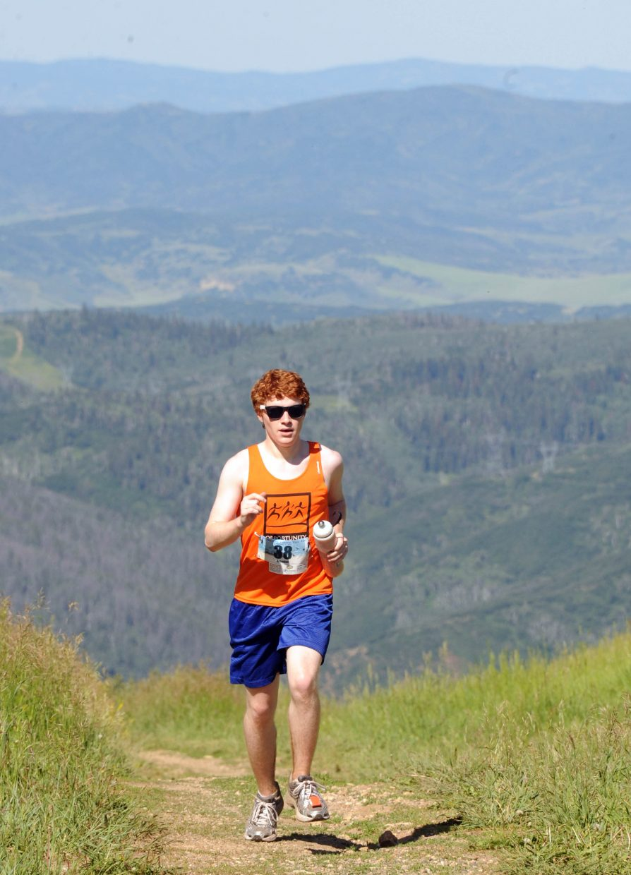 Brendan Scannell, of Valparaiso, Ind., runs Saturday in the Mount Werner Classic in Steamboat Springs.