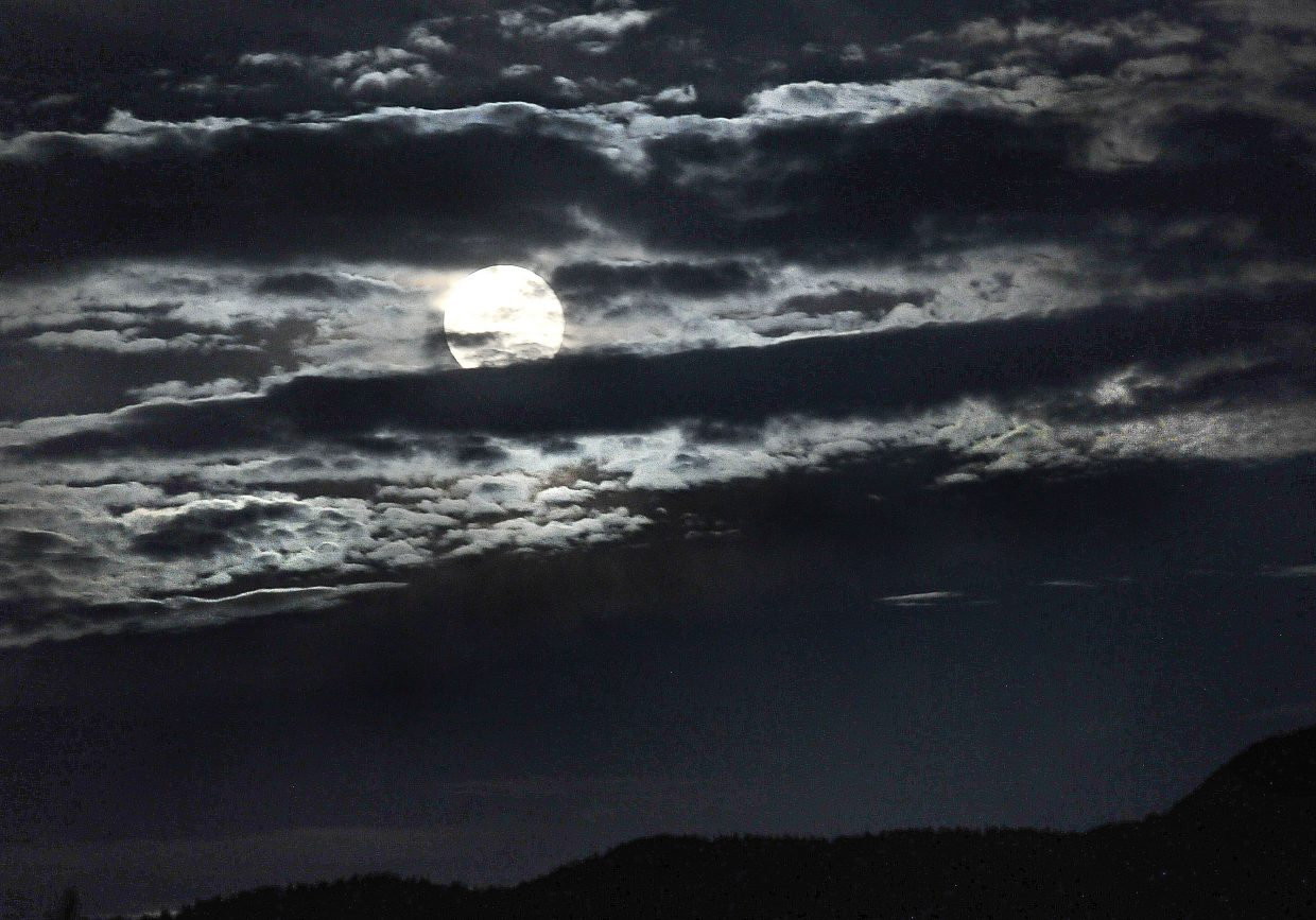 Clouds give the moon a mysterious feel last week as it rises above the Yampa Valley.