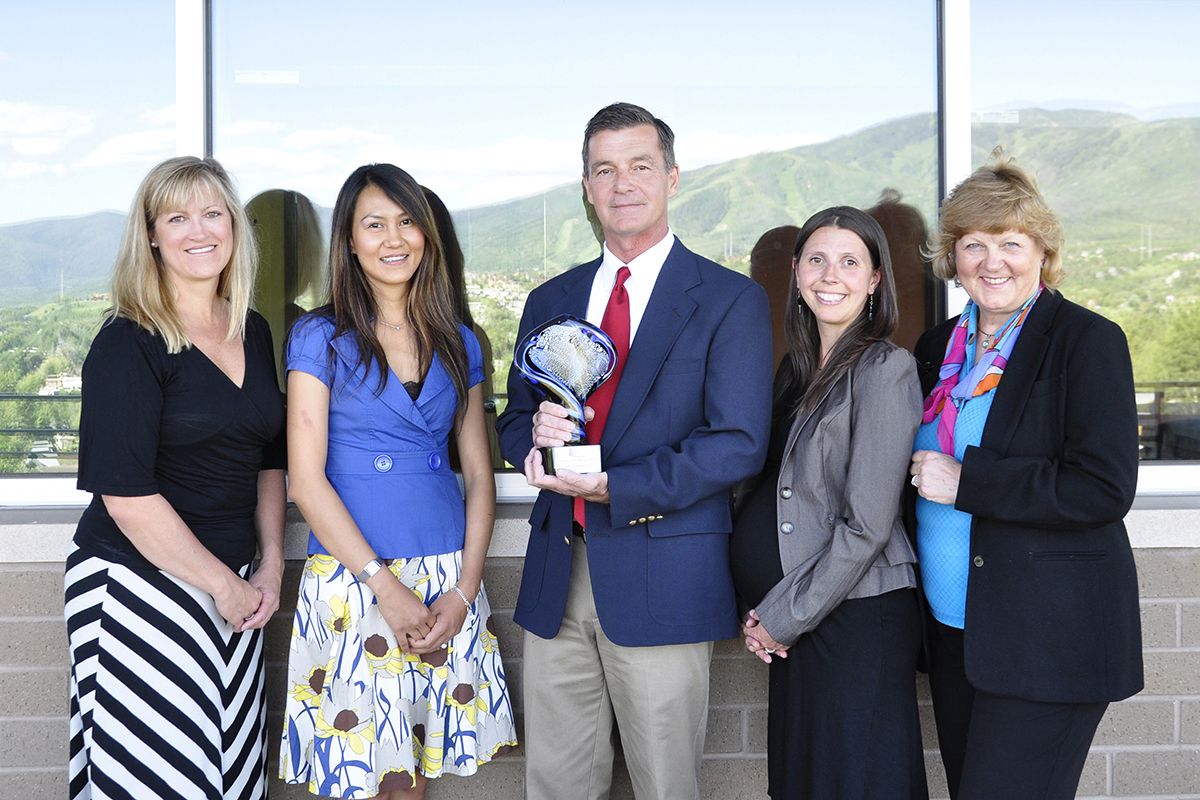 Terry Hunter, center, Colorado Mountain College professor and director of resort management, recently received the Anthony Marshall Award from the American Hotel & Lodging Educational Institute. Hunter said the award was a team effort and credits the college's resort management faculty, from left, Deidre Saunders, Cho Tin Tun, Hunter, Kyleigh Lawler and Barbara Robinson.