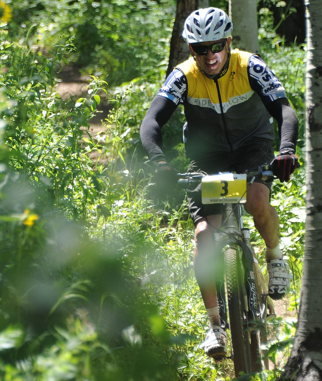 Drew Meister rides in the Ride 4 Yellow event in Steamboat Springs on Sunday,