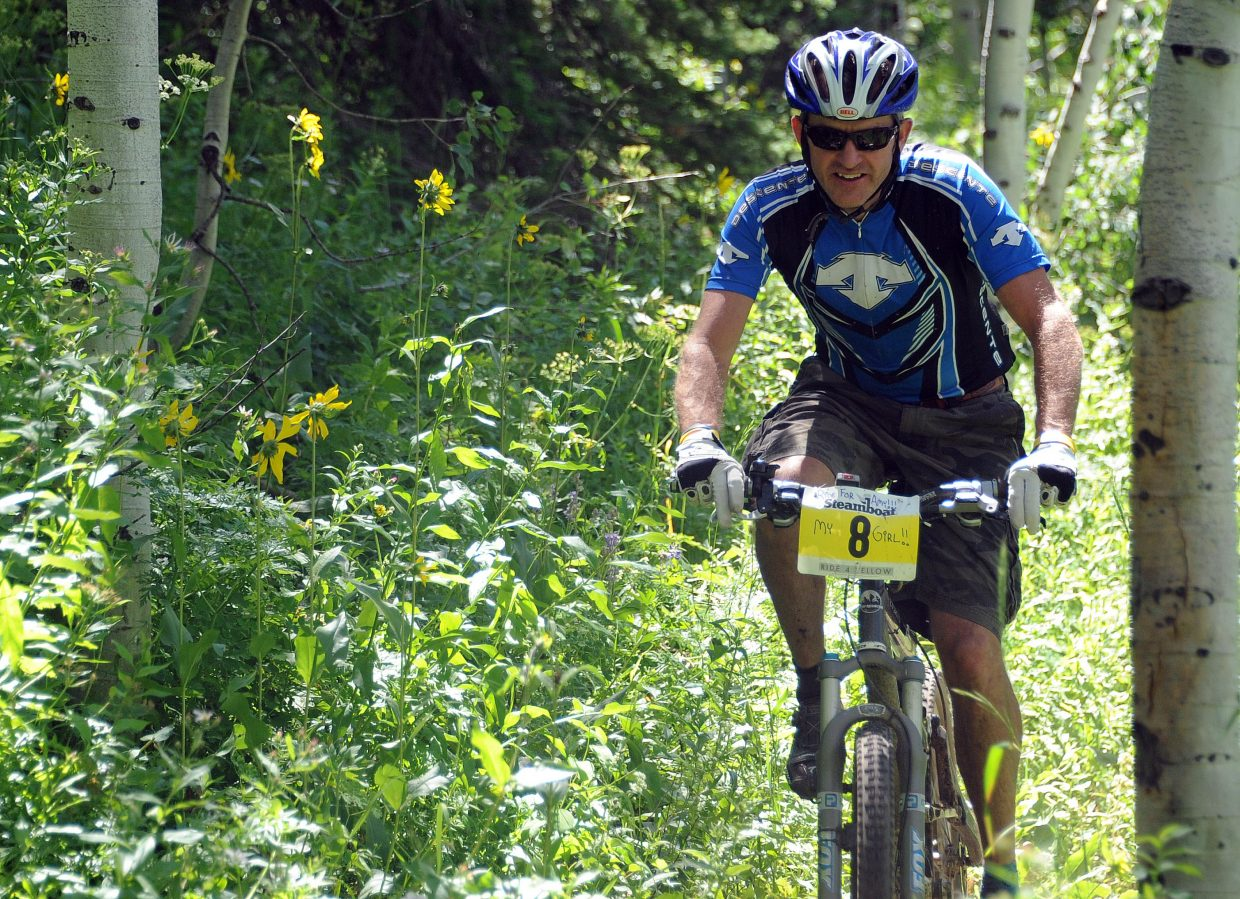 PJ Wharton rides Sunday in the Ride 4 Yellow event in Steamboat Springs.