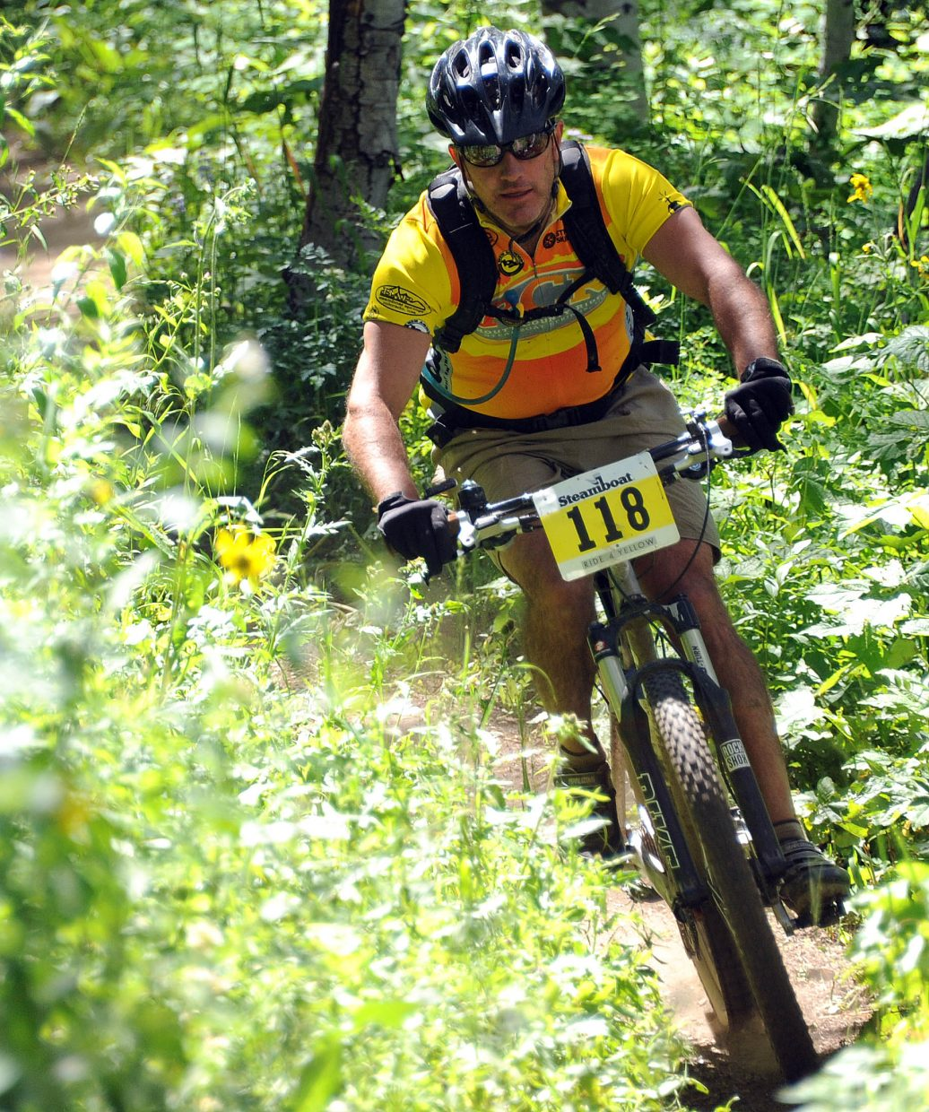 Scott Wither rides in Sunday's Ride 4 Yellow event in Steamboat Springs.