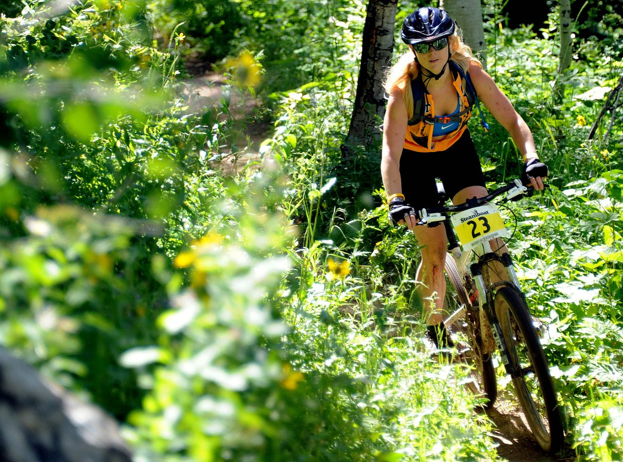 Holly Dye rides Sunday in the Ride 4 Yellow event in Steamboat Springs.