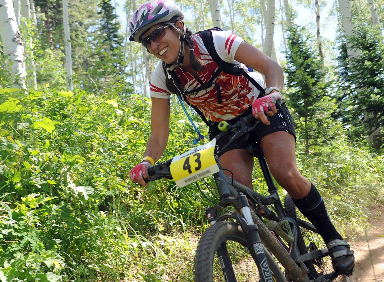 Katie Armstrong rides Sunday in the Ride 4 Yellow event in Steamboat Springs.