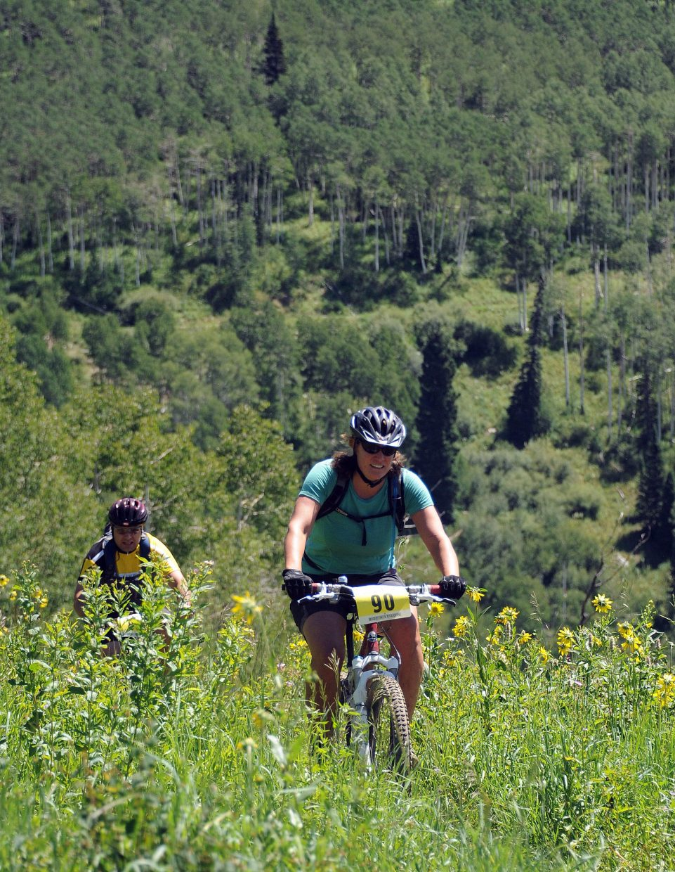 Jennifer Howland rides in the Ride 4 Yellow event in Steamboat Springs on Sunday.