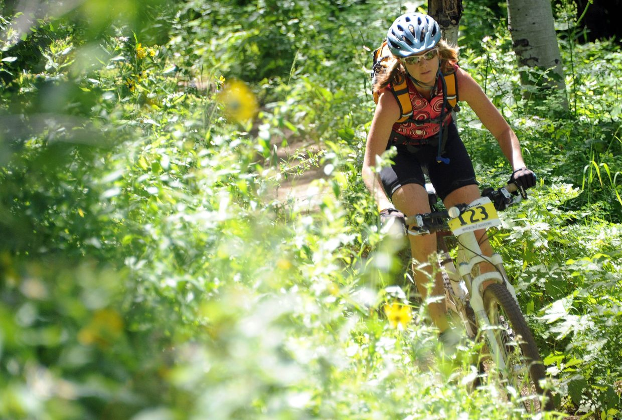 Kristen Race rides Sunday in the Ride 4 Yellow event in Steamboat Springs.