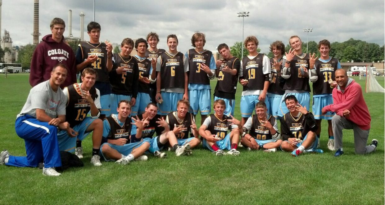 Steamboat Springs lacrosse players on the Wild Elite Club — including Kaleb VanArsdale, top row fifth from right, and Michael Wong, bottom row first from right — celebrate after winning a championship game at Notre Dame. A couple weeks earlier, the team placed second in the Adrenaline Shootout in Sonoma, Calif.