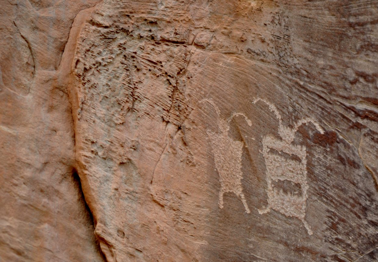 Petroglyphs in Echo Park are more than 1,000 years old.