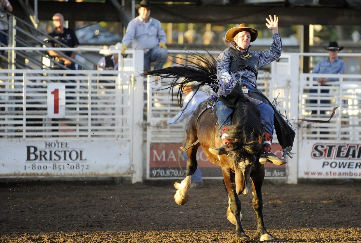 Warren Stairs, of Parker, competes in the bareback riding competition during the Steamboat Springs Pro Rodeo Series season opener in June at the Brent Romick Rodeo Arena. The rodeo series continues at 7:30 p.m. Saturday before wrapping up the season Aug. 16 and 17.