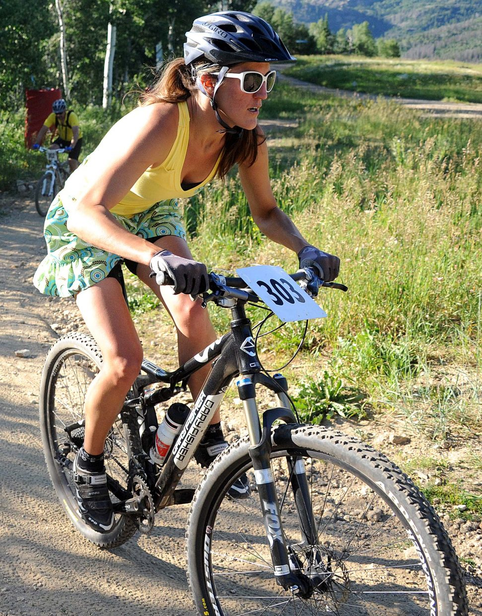 Gretchen Coleman rides Wednesday in the Storm Peak Challenge race in Steamboat Springs.