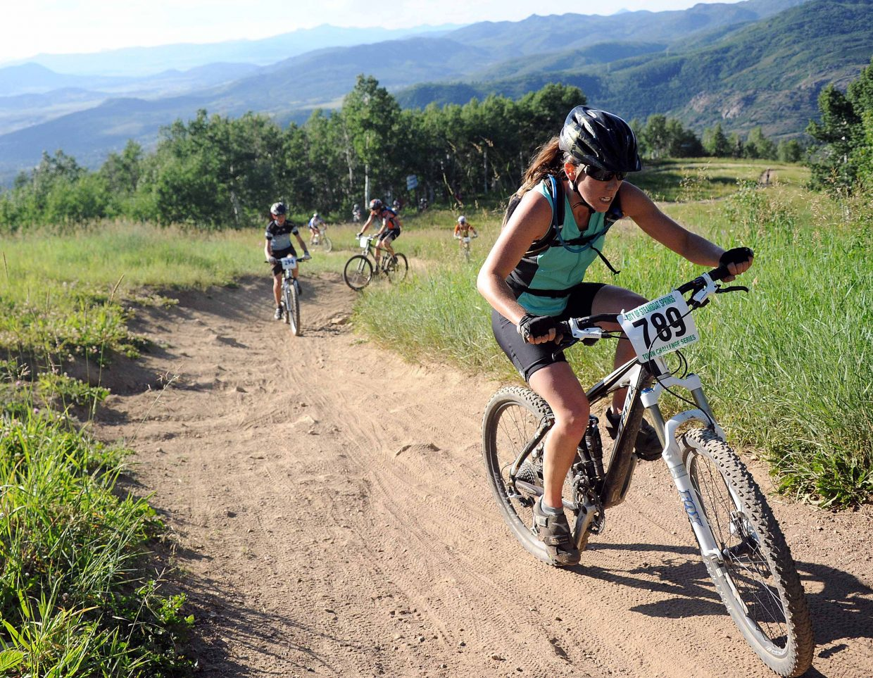 Reall Culbenson rides Wednesday in the Storm Peak Challenge race in Steamboat Springs.