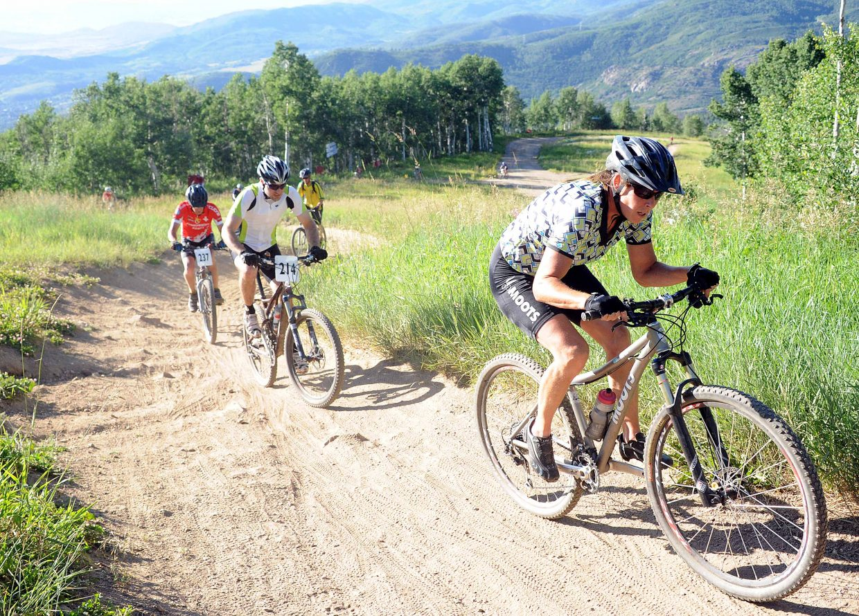 Kathleen Fitzsimmons rides Wednesday in the Storm Peak Challenge race in Steamboat Springs.