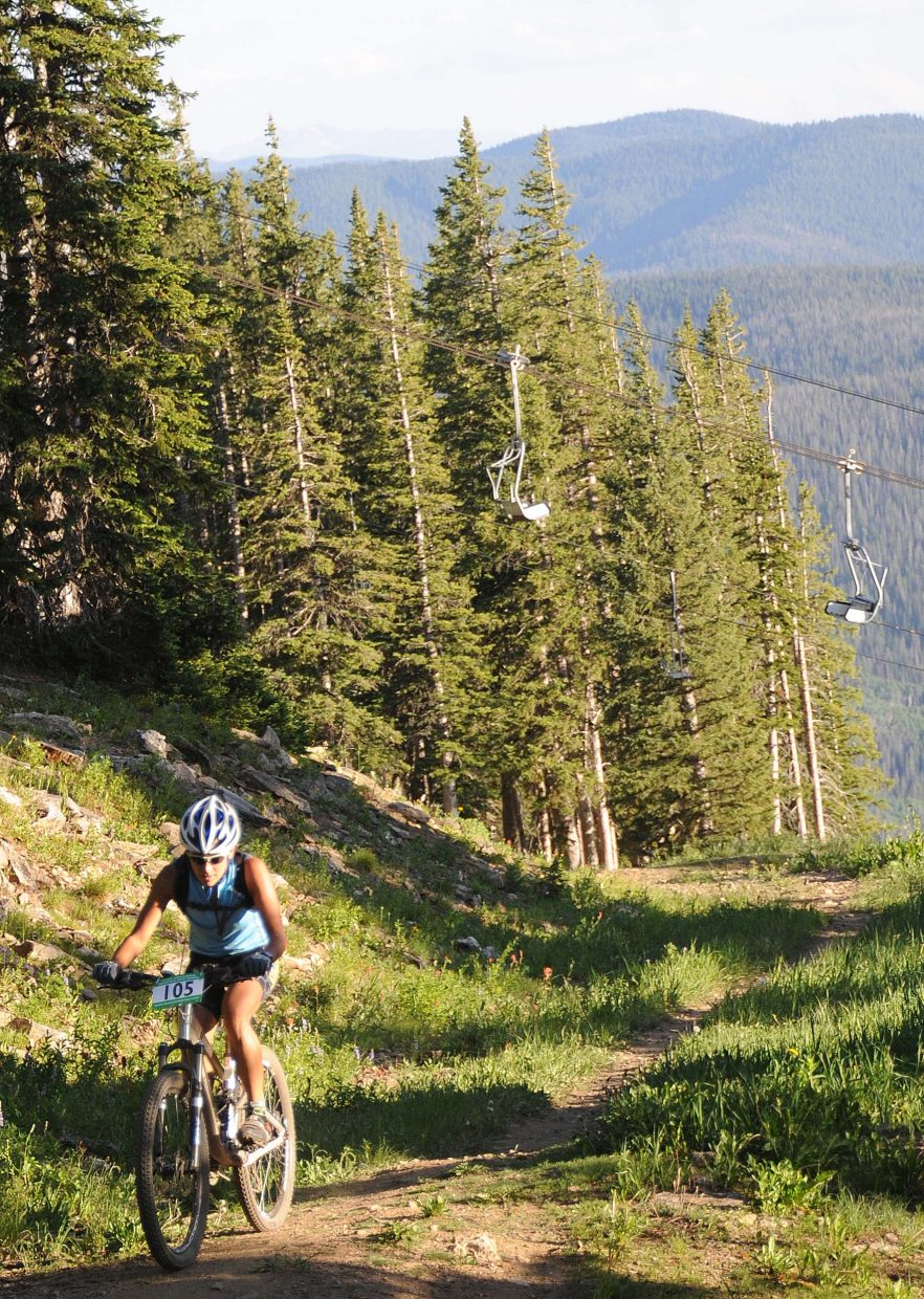Genevieve Kalmes rides Wednesday in the Storm Peak Challenge race in Steamboat Springs.