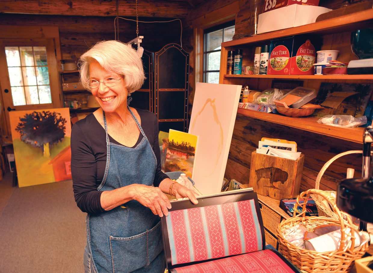 Artist Dedi Knox stands inside her Hahn's Peak studio in North Routt County. Knox is one of several local artists who live north of Steamboat Springs.