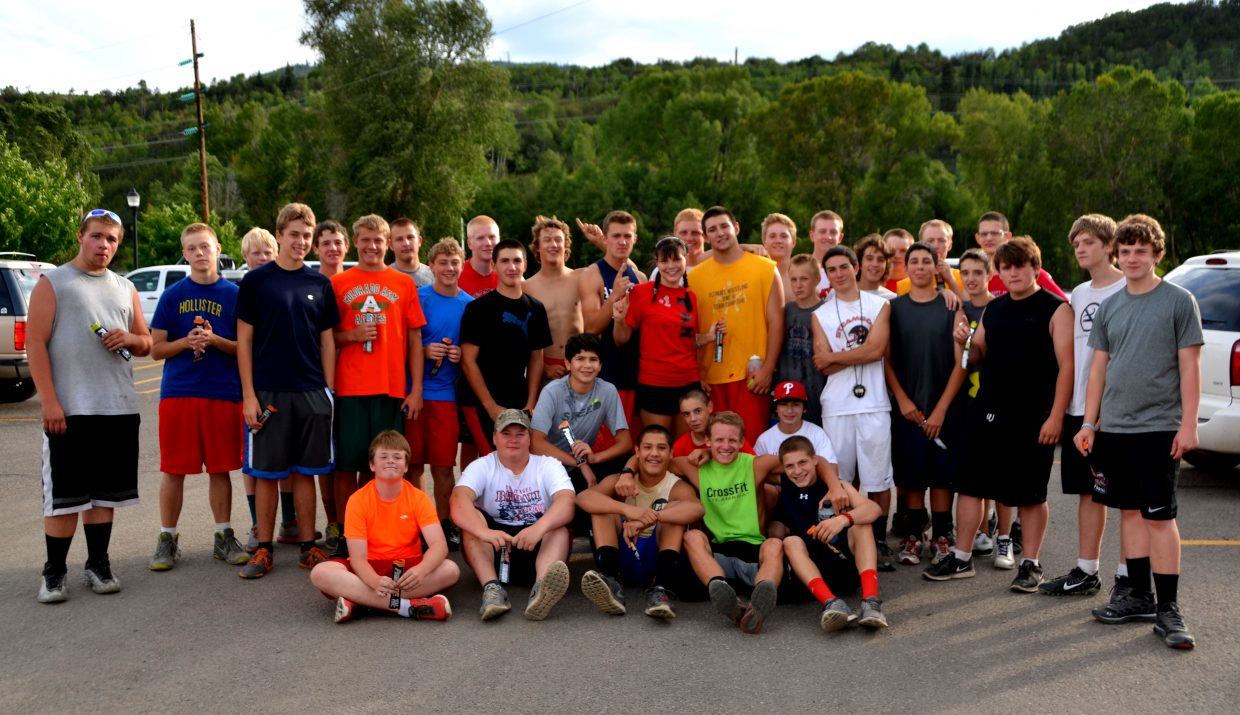 The Steamboat Springs High School football team raced to the top of Howelsen Hill on Friday as part of the annual event. The team officially begins practice on Monday.