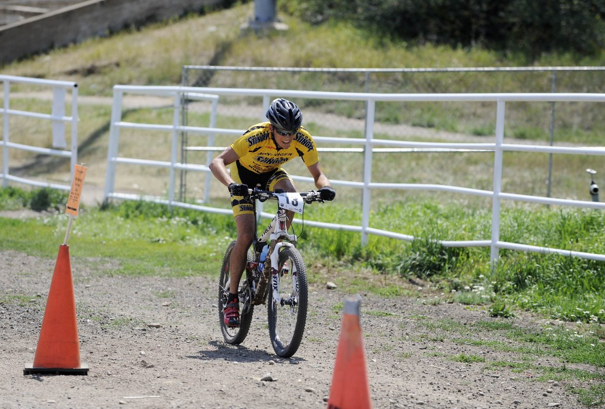 Steamboat's Peter Kalmes races to the finish lline during the Steamboat Stinger on Saturday at Howelsen Hill.