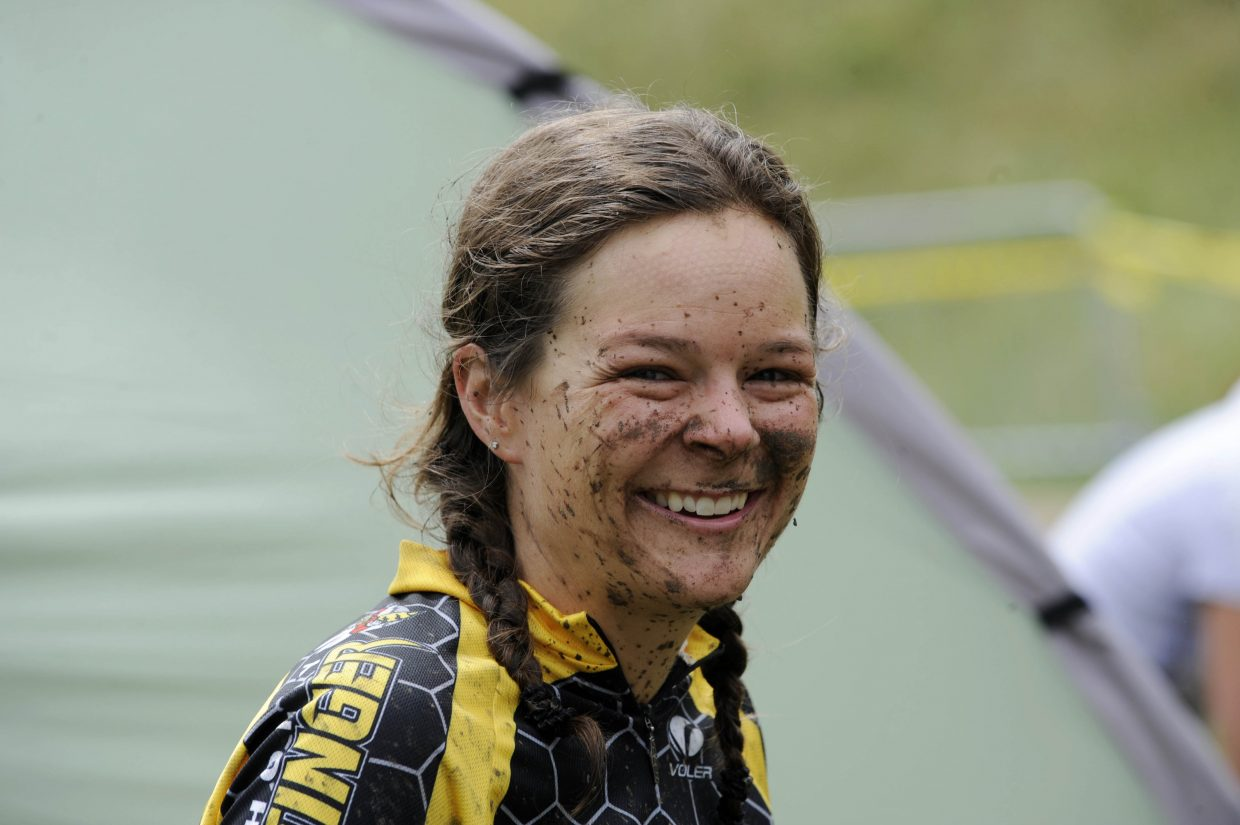 Steamboat Stinger duo racer Kristi Bernitt was all smiles after finishing the first leg of Saturday's race.