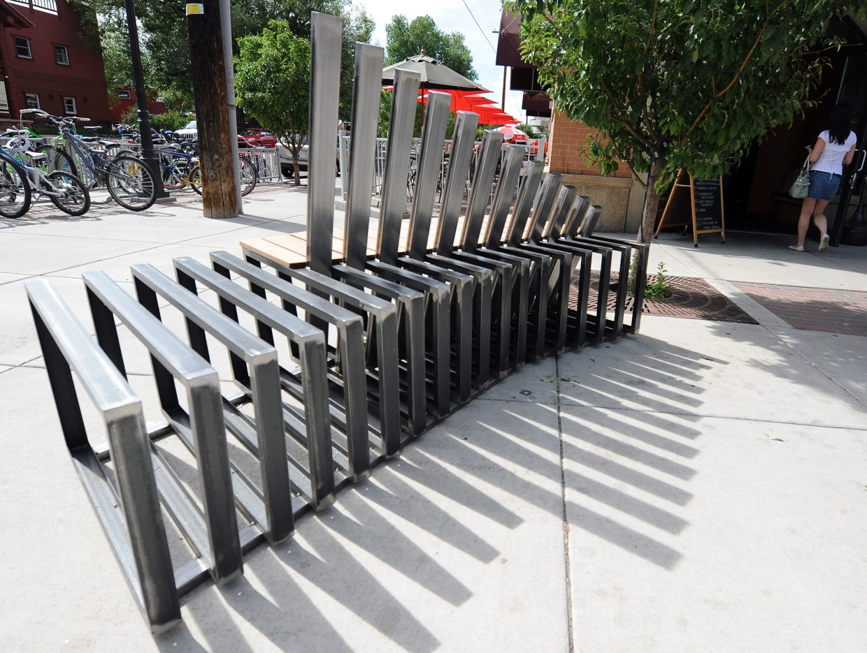 A bench outside Carl's Tavern is one of four new benches in downtown Steamboat Springs.