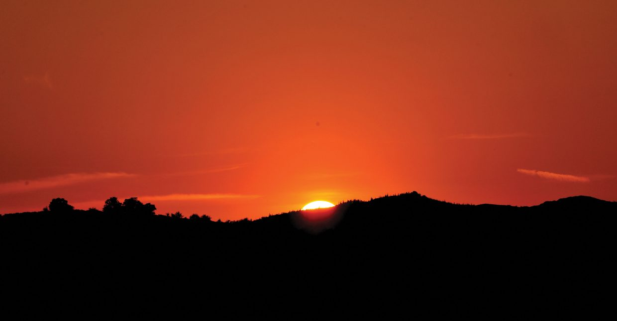The sun falls below the horizon for a vantage point outside Steamboat Springs.