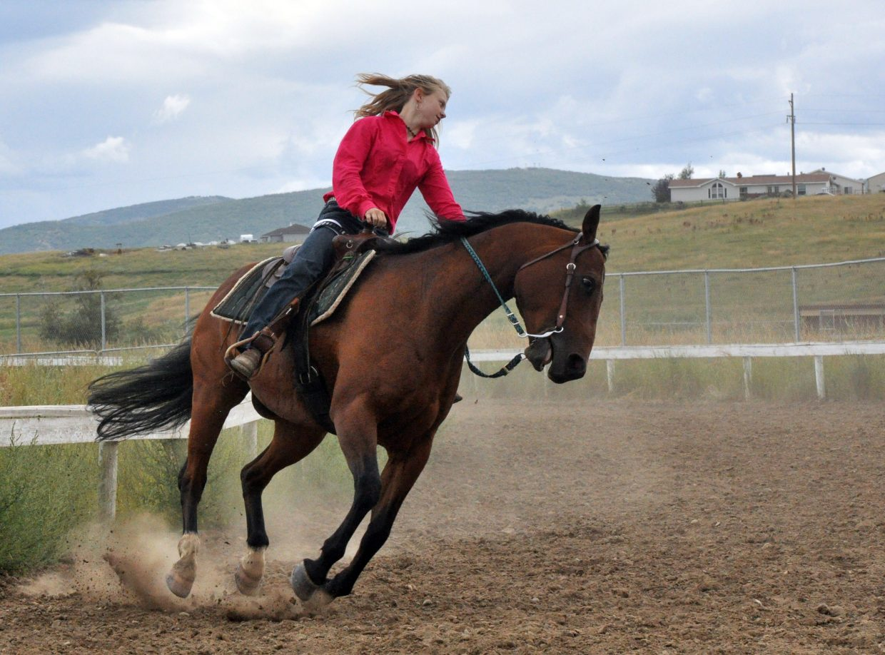 Kaitlynn Hayes practices before an open horse show Sunday at the Routt County Fairgrounds in Hayden. The horse show was one of several events leading up to the official kick off of the 97th annual Routt County Fair onThursday.