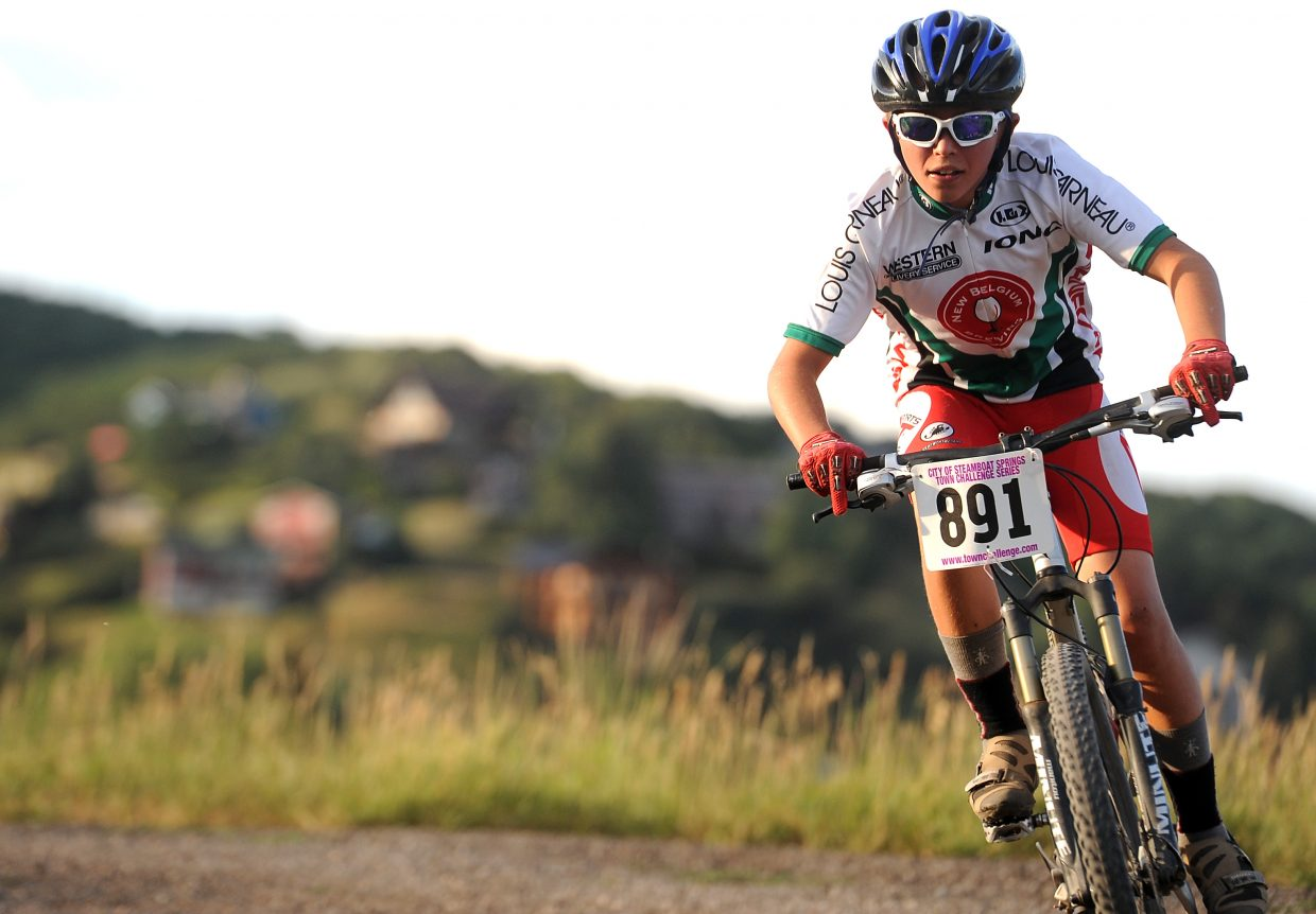 David Petersen rides Wednesday in the Soul of Emerald Town Challenge race.