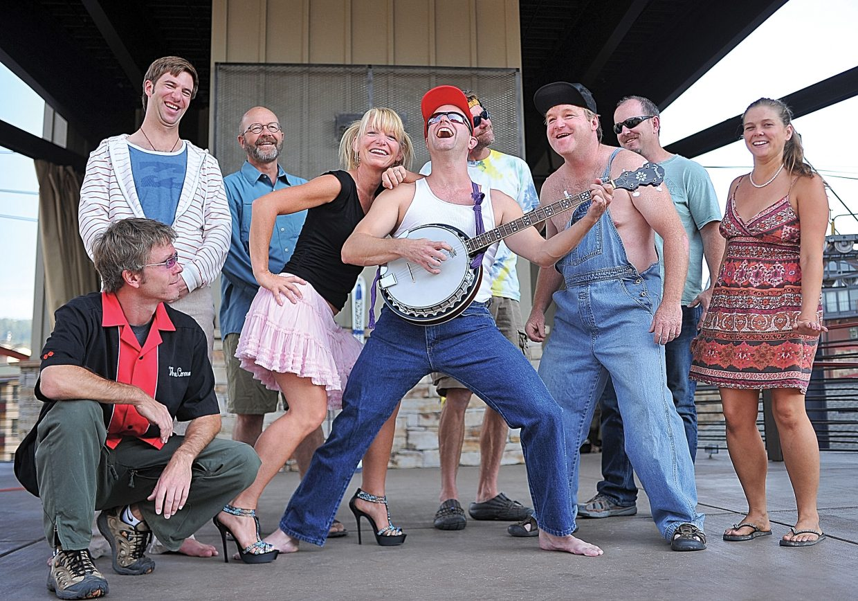 "Members of Pirate Theatre, including, from left, Todd Danielson, Grant Bursek, Chris Hammond, Leah Arnone, Andy Pratt, Eric Leach, Brian Harvey, Gordon Speck and Kasey Lane, perform ""Redneck's Revenge"" during a rehearsal for a show at 8 p.m. Saturday at the base of Steamboat Ski Area."